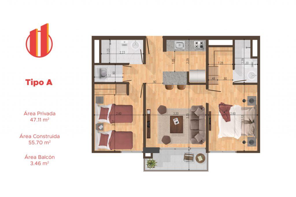 Planta apartamentos Quito - Tipo A