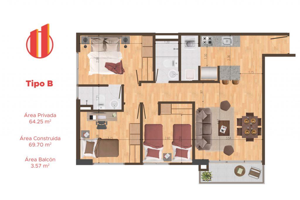 Planta apartamentos Quito - Tipo B