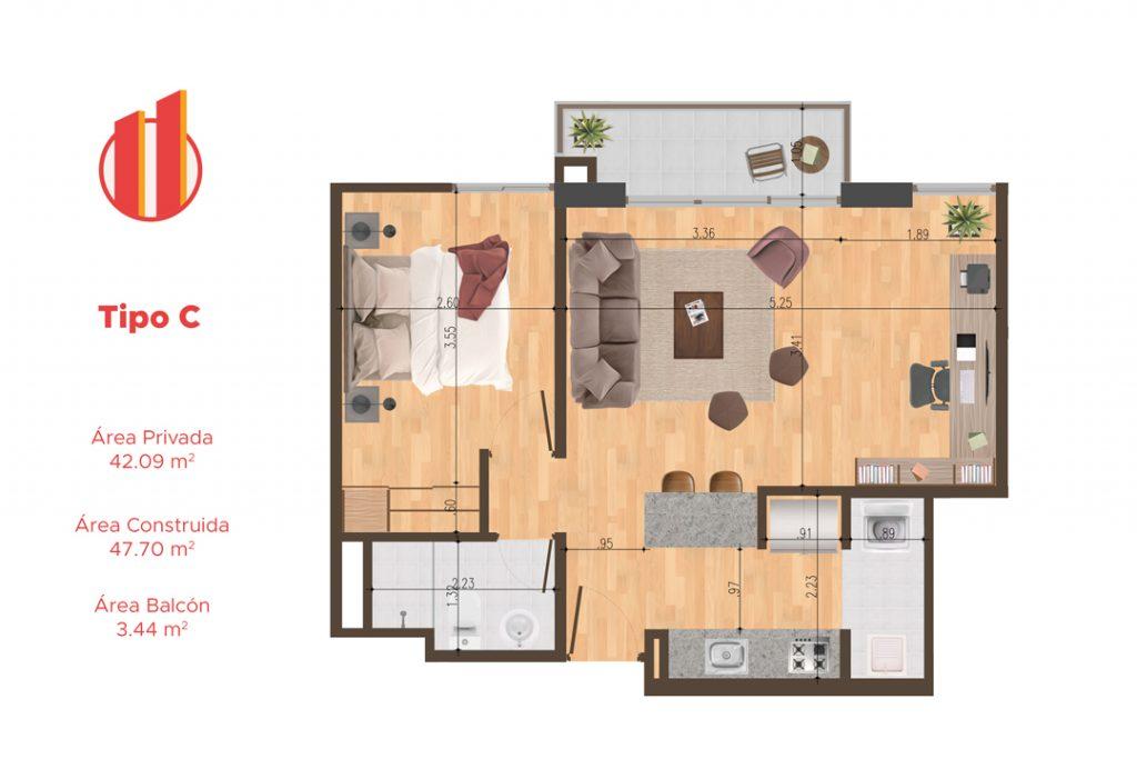Planta apartamentos Quito - Tipo C