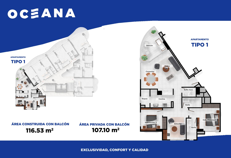 Plano apartamento Cartagena Tipo 1