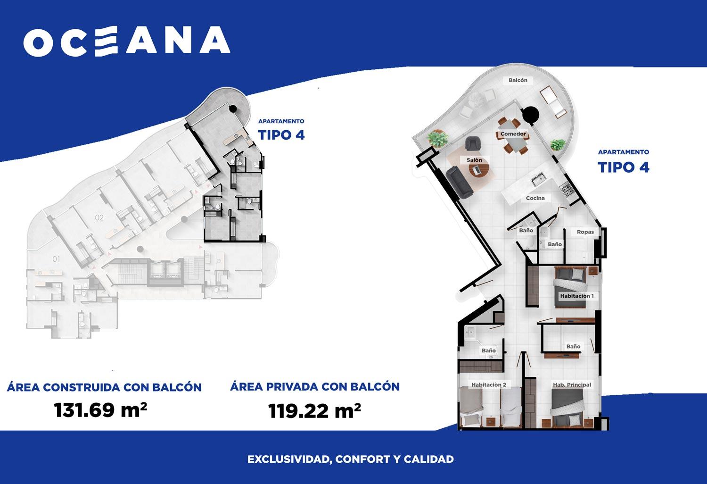 Plano apartamento Cartagena Tipo 4