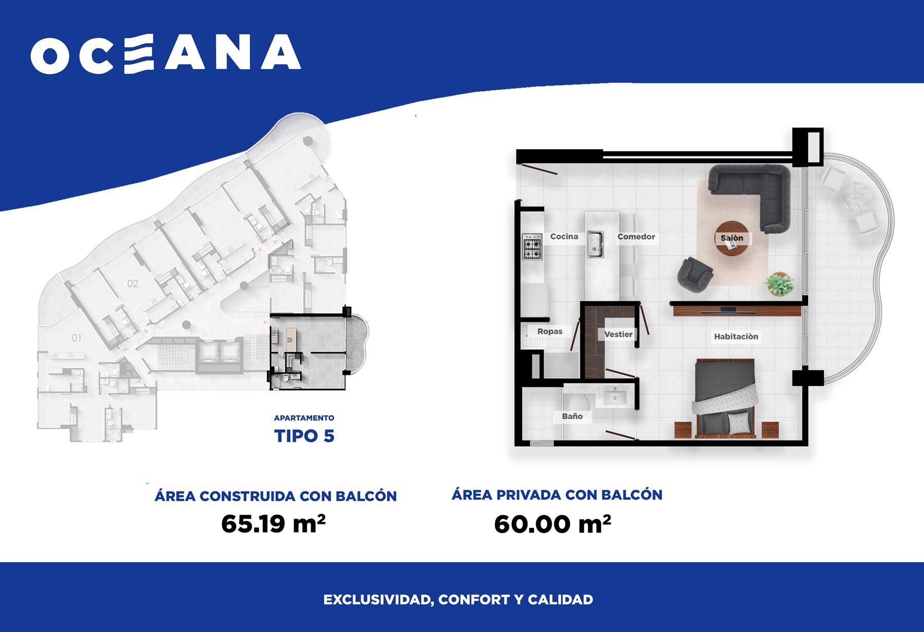 Plano apartamento Cartagena Tipo 5
